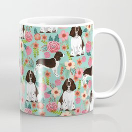 English Springer Spaniel florals cute dog art pet portraits by pet friendly dog breeds Coffee Mug