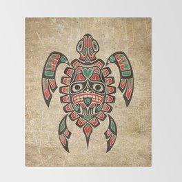Vintage Red and Green Haida Spirit Sea Turtle Throw Blanket