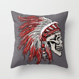 skull indian chief in hand drawing  Throw Pillow