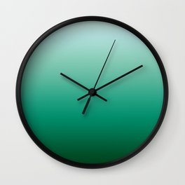 Ombre Teal Green Gradient Pattern Wall Clock