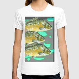 SCHOOL OF GREENISH-YELLOW FISH  IN GREY ART T-shirt