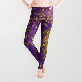 Purple Christmas faux golden glitter deer Leggings