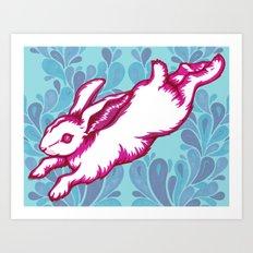 Leaping Rabbit Art Print