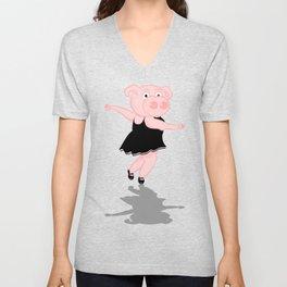 Pig Ballerina Unisex V-Neck