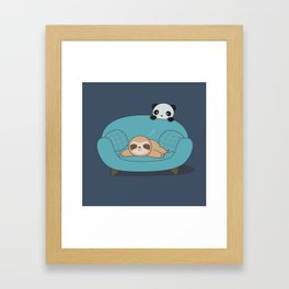 Kawaii Cute Panda And Sloth Framed Art Print