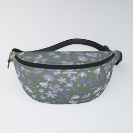 Purple Watercolor Flowers on Green Fanny Pack