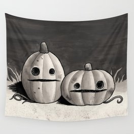 Old Friends - Halloween Pumpkins in Black and Grey Wall Tapestry