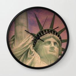 NEW YORK CITY Statue of Liberty at sunset Wall Clock