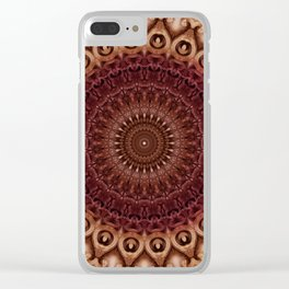 Mandala in brown and red tones Clear iPhone Case