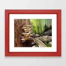 Mushroom Timber Town Framed Art Print