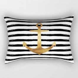 Anchor & Stripes - Gold / Black Rectangular Pillow