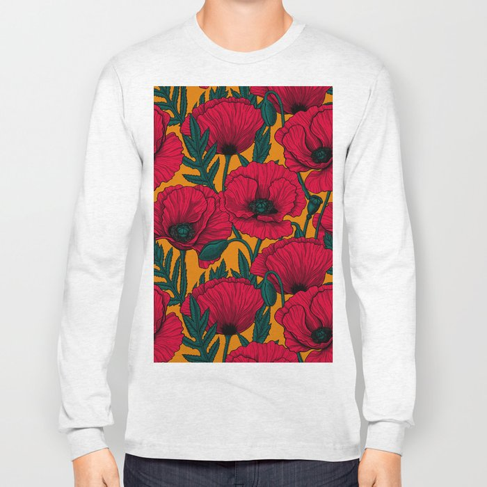 Red poppy garden Long Sleeve T-shirt
