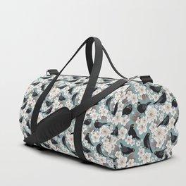 Waiting for the cherries I // Blackbirds blue background Duffle Bag