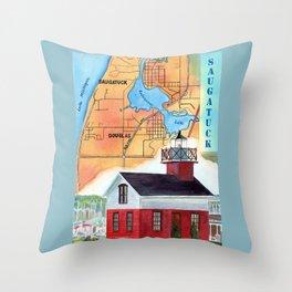 Map of Saugatuck Throw Pillow