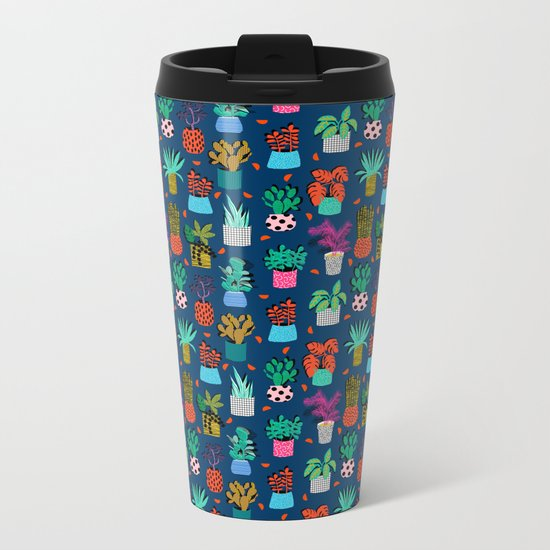 Check It - house plants indoor monstera neon bright modern pattern retro throwback memphis style Metal Travel Mug