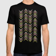 Wheat Chevron LARGE Black Mens Fitted Tee