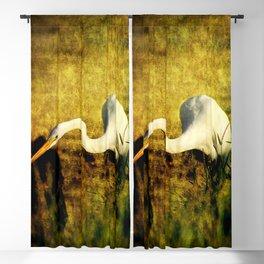 Fishing Great Egret Art Blackout Curtain