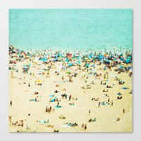 brooklyn Canvas Prints featuring Coney Island Beach by Mina Teslaru