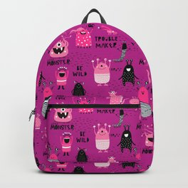 Cute Silly Monsters Pink Purple Pattern Backpack