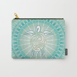 Turquoise Green Turtle And Mandala Carry-All Pouch