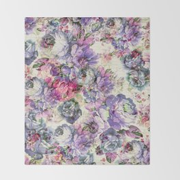 Vintage bohemian rustic pink lavender floral Throw Blanket
