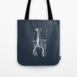 White lobster on navy Tote Bag