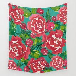 Watercolor Roses Wall Tapestry
