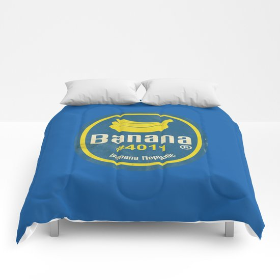 Banana Sticker On Blue Comforters
