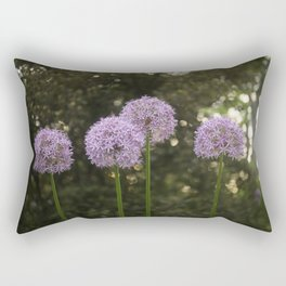 Purple Allium Ornamental Onion Flowers Blooming in a Spring Garden 4 Rectangular Pillow