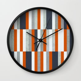 Orange, Navy Blue, Gray / Grey Stripes, Abstract Nautical Maritime Design by Wall Clock