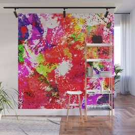 Expression Of Colour - Abstract Painting In Rainbow Colours Wall Mural