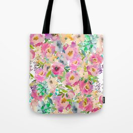 Elegant blush pink lavender green watercolor floral Tote Bag