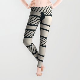 Lines, Seams and Buckles, (Charcoal and Cream) Leggings