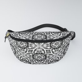 Retro . Lace black and white pattern . White lace on a black background . Fanny Pack