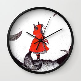 Red Riding Howl Wall Clock