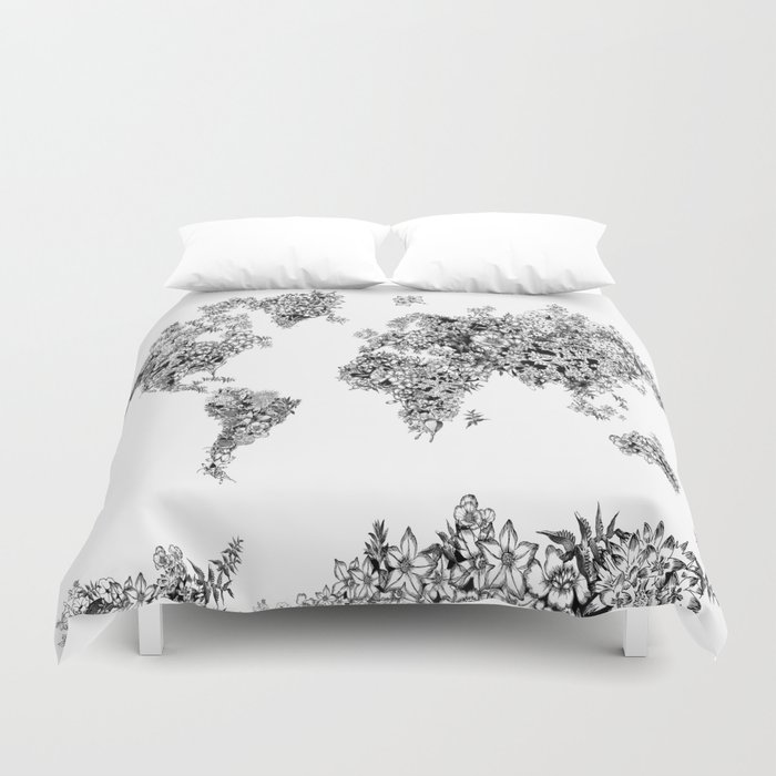 floral world map black and white duvet cover