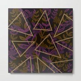 Dark Geometrics Florals Metal Print