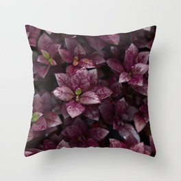 Purple leaves and shoos Throw Pillow