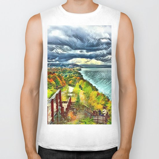 Stairs to Paradise (Water and Landscape) Biker Tank