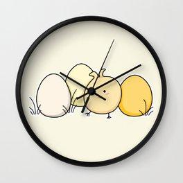 Cute Kawaii Easter Chick and Eggs Wall Clock