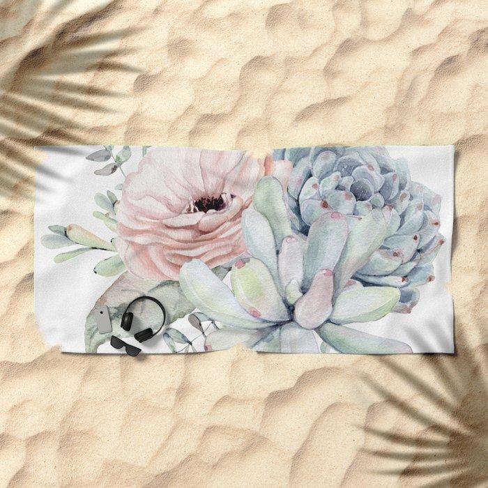 Pastel Succulents by Nature Magick Beach Towel
