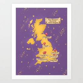 Map Of the Most Haunted Locations of the United Kingdom. Art Print