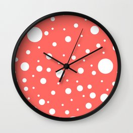 Mixed Polka Dots - White on Pastel Red Wall Clock