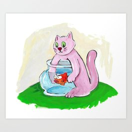 Cat Eating My Goldfish Art Print
