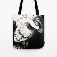 joker Tote Bags featuring Joker by Sinpiggyhead