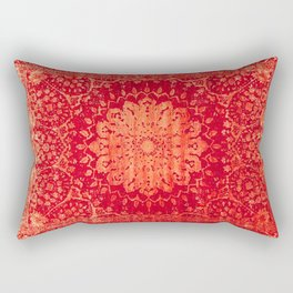 Geometric Orange Oriental Vintage Traditional Moroccan Mandala Rectangular Pillow