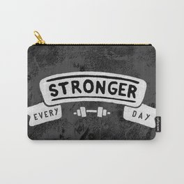 Stronger Every Day (dumbbell, black & white) Carry-All Pouch