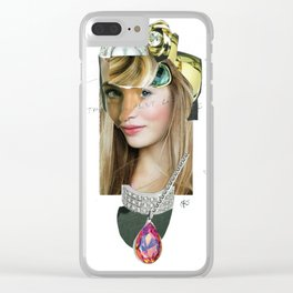 Frau mit Portrait Disaster Clear iPhone Case