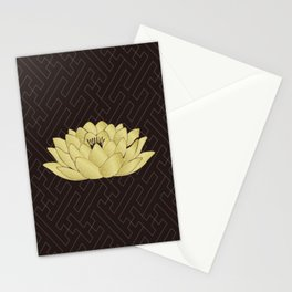 Yoga Lotus Art Black Stationery Cards