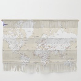 """Cream, white, red and navy blue world map, """"Deuce"""" Wall Hanging"""